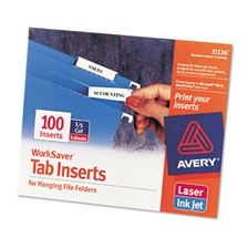 Avery® Printable Inserts for Hanging File Folders, 1/5 Tab, Two, White, 100/Pack
