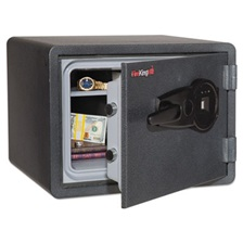 FireKing® One Hour Fire and Water Safe w/Biometric Fingerprint Lock, 0.85 cu. ft, Graphite