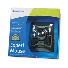 Kensington® Expert Mouse Wired Trackball, Scroll Ring, Black/Silver