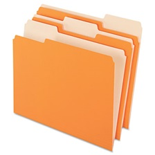Pendaflex® Colored File Folders, 1/3 Cut Top Tab, Letter, Orange/Light Orange, 100/Box