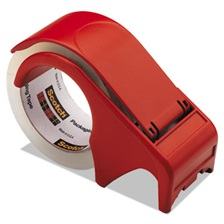 "Scotch® Compact and Quick Loading Dispenser for Box Sealing Tape, 3"" Core, Plastic, Red"