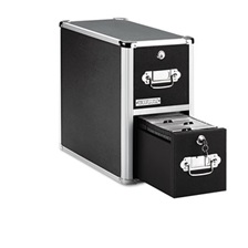 Vaultz® 2-Drawer CD File Cabinet, Holds 330 Folders or 120 Slim/60 Standard Cases, Black