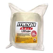 2XL Gym Wipes Mega Roll Refill, 8 x 8, White, 1200/Roll, 2 Rolls/Carton