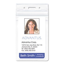 Advantus Resealable ID Badge Holder, Vertical, 2 7/8 x 4 5/16, Clear, 50/Pack
