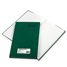 National® Emerald Series Account Book, Green Cover, 150 Pages, 12 1/4 x 7 1/4