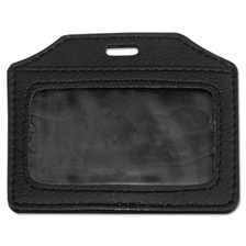 Advantus Leather-Look Badge Holder, 3 1/2 x 2 1/2, Horizontal, Black, 5/Pack