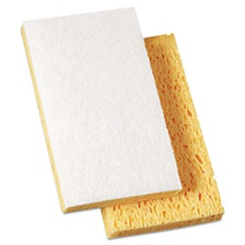 "Boardwalk® Scrubbing Sponge, 3 3/5"" x 6 1/10"", 7/10"" Thick, Yellow/White, 20/Carton"