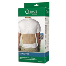 "Curad® Back Support, Elastic, 33"" to 48"" Waist Size, 33w 48d x 10h, 6 Stays, Beige"