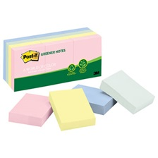 Post-it® Greener Notes Recycled Note Pads, 1 1/2 x 2, Assorted Helsinki Colors, 100-Sheet, 12/Pack