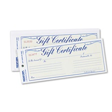 Rediform® Gift Certificates w/Envelopes, 8-1/2w x 3-2/3h, Blue/Gold, 25/Pack