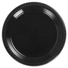 Chinet® Heavyweight Plastic Plates, 10 1/4 Inches, Black, Round