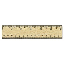 "Universal® Flat Wood Ruler w/Double Metal Edge, 12"", Clear Lacquer Finish"