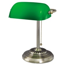 "Alera® Traditional Banker's Lamp, Green Glass Shade, Antique Brass Base, 14""h"