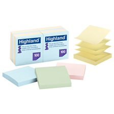Highland™ Self-Stick Pop-Up Notes, 3 x 3, Assorted Pastel, 100-Sheet, 12/Pack