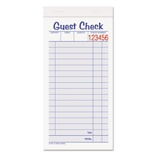 Adams® Guest Check Unit Set, Carbonless Duplicate, 6 7/8 x 3 3/8, 50 Forms, 10/Pack