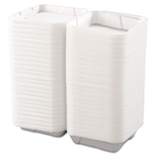 Boardwalk® Snap-it Foam Hinged Lid Containers, 1-Comp, 9 1/4 x 9 1/4 x 3, White, 200/Carton