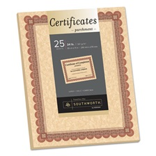 Southworth® Parchment Certificates, Copper w/Red & Brown Border, 8 1/2 x 11, 25/Pack