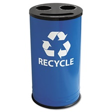 Ex-Cell Round Three-Compartment Recycling Container, Steel, 14gal, Blue/Black