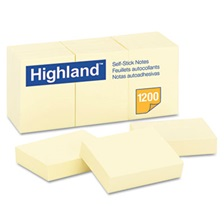 Highland™ Self-Stick Notes, 1 1/2 x 2, Yellow, 100-Sheet, 12/Pack