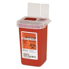 Covidien Sharps Containers, Polypropylene, 1/4 gal, 3 1/2 x 4 1/4 x 5 1/2, Red