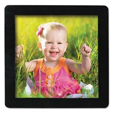 Advantus Magnetic Picture Frames, Black, 4 x 4, 4/Pack