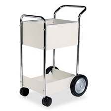 Fellowes® Steel Mail Cart, 75-Folder Capacity, 20w x 25-1/2d x 39h, Dove Gray