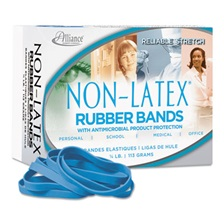 Alliance® Antimicrobial Non-Latex Rubber Bands, Sz. 64, 3-1/2 x 1/4, 1/4lb Box