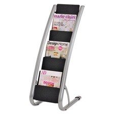 Alba™ Literature Floor Rack, Six Pocket, 13 1/3 x 19 2/3 x 36 2/3, Silver Gray/Black