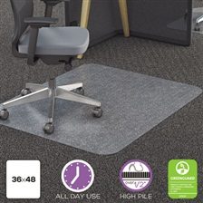 deflecto® Clear Polycarbonate All Day Use Chair Mat for All Pile Carpet, 36 x 48