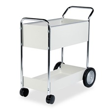 Fellowes® Steel Mail Cart, 150-Folder Capacity, 20w x 40-1/2d x 39h, Dove Gray