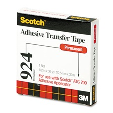 "Scotch® Adhesive Transfer Tape, 1/2"" Wide x 36yds"