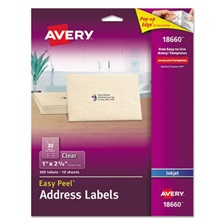 Avery® Clear Easy Peel Address Labels, Inkjet, 1 x 2 5/8, 300/Pack
