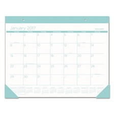 AT-A-GLANCE® Color Play Desk Pad Calendar, 22 x 17, White/Teal, 2017