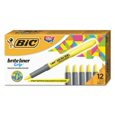 BIC® Brite Liner Grip Pocket Highlighter, Chisel Tip, Fluorescent Yellow, Dozen
