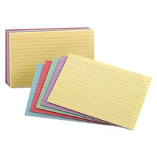 Oxford™ Ruled Index Cards, 3 x 5, Blue/Violet/Canary/Green/Cherry, 100/Pack