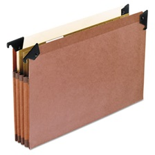 "Pendaflex® 3 1/2"" Hanging File Pockets with Swing Hooks, 1/5 Tab, Legal, Brown, 5/Box"