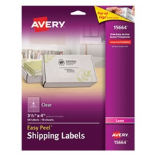 Avery® Clear Easy Peel Shipping Labels, Laser, 3 1/3 x 4, 60/Pack