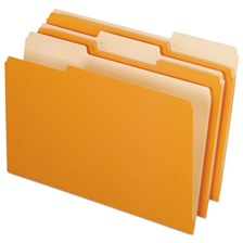 Pendaflex® Colored File Folders, 1/3 Cut Top Tab, Legal, Orange/Light Orange, 100/Box