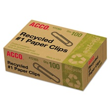 ACCO Recycled Paper Clips, Smooth, #1, 100/Box, 10 Boxes/Pack