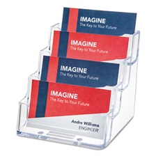 deflecto® Four-Pocket Countertop Business Card Holder, Holds 200 2 x 3 1/2 Cards, Clear