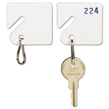SteelMaster® Slotted Rack Key Tags, Plastic, 1 1/2 x 1 1/2, White, 20/Pack