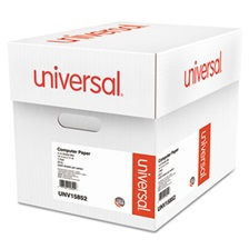 Universal® Green Bar Computer Paper, 20lb, 14-7/8 x 11, Perforated Margins, 2400 Sheets