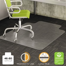 deflecto® DuraMat Moderate Use Chair Mat for Low Pile Carpet, Beveled, 46x60 w/Lip, Clear