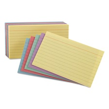 Oxford™ Ruled Index Cards, 5 x 8, Blue/Violet/Canary/Green/Cherry, 100/Pack