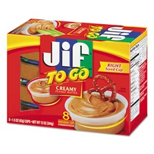 Jif To Go® Spreads, Creamy Peanut Butter, 1.5 oz Cup, 8/Box