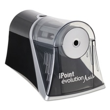 iPoint® Evolution Axis Pencil Sharpener, Black/Silver, 4 1/4 w x 7d x 4 3/4h