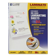 "C-Line® Cleer Adheer Self-Adhesive Laminating Film, 2 mil, 9"" x 12"", 50/Box"