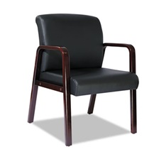 Alera® Alera Reception Lounge Series Guest Chair, Mahogany/Black Leather