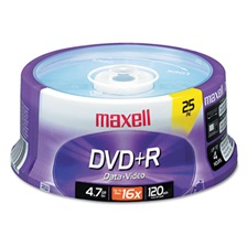 Maxell® DVD+R Discs, 4.7GB, 16x, Spindle, Silver, 25/Pack