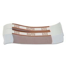 Coin-Tainer® Currency Straps, Brown, $5,000 in $50 Bills, 1000 Bands/Pack